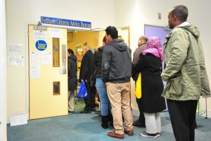 People queueing at Feltham Citizens aDvice Bureau
